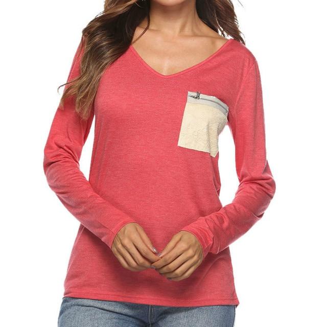 0cb10dfa624a7 Autumn Casual Long Sleeve V-neck Women T Shirt T-Shirts Tops Lady Tee  Shirts Basic T-shirt Sequin Pockets Zipper Plus Size GV013