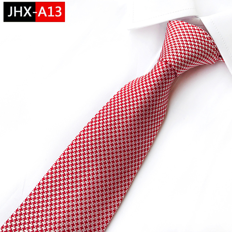 Man's Necktie Houndstooth Silk Ties  Classic Pink Jacquard Tie Suit Wedding Engagement Ties