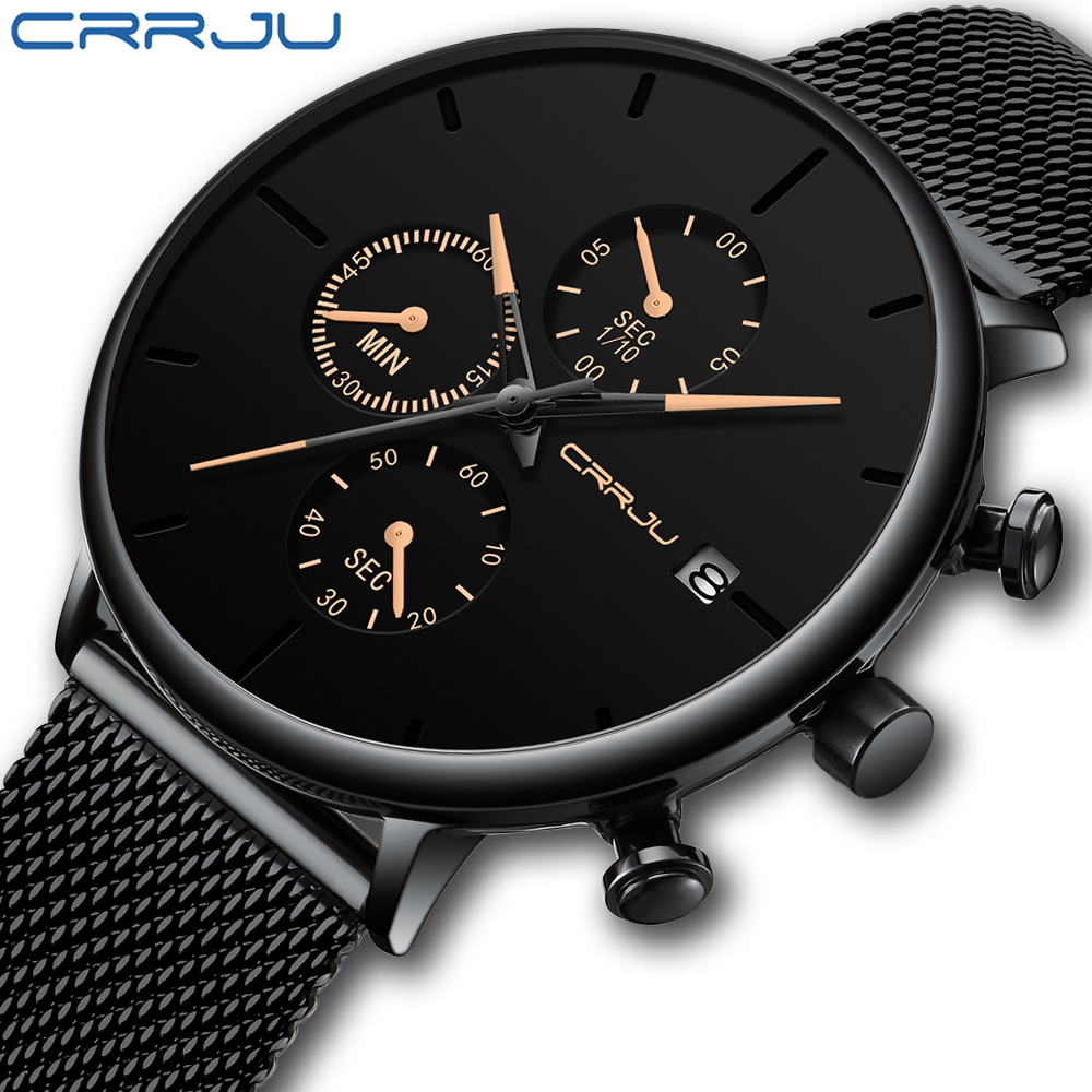CRRJU 2019 New Men Watch Simple Chronograph Mesh Quartz Watch Classic Black Face with Luxury Rose Golden Pointers Date ClockCRRJU 2019 New Men Watch Simple Chronograph Mesh Quartz Watch Classic Black Face with Luxury Rose Golden Pointers Date Clock