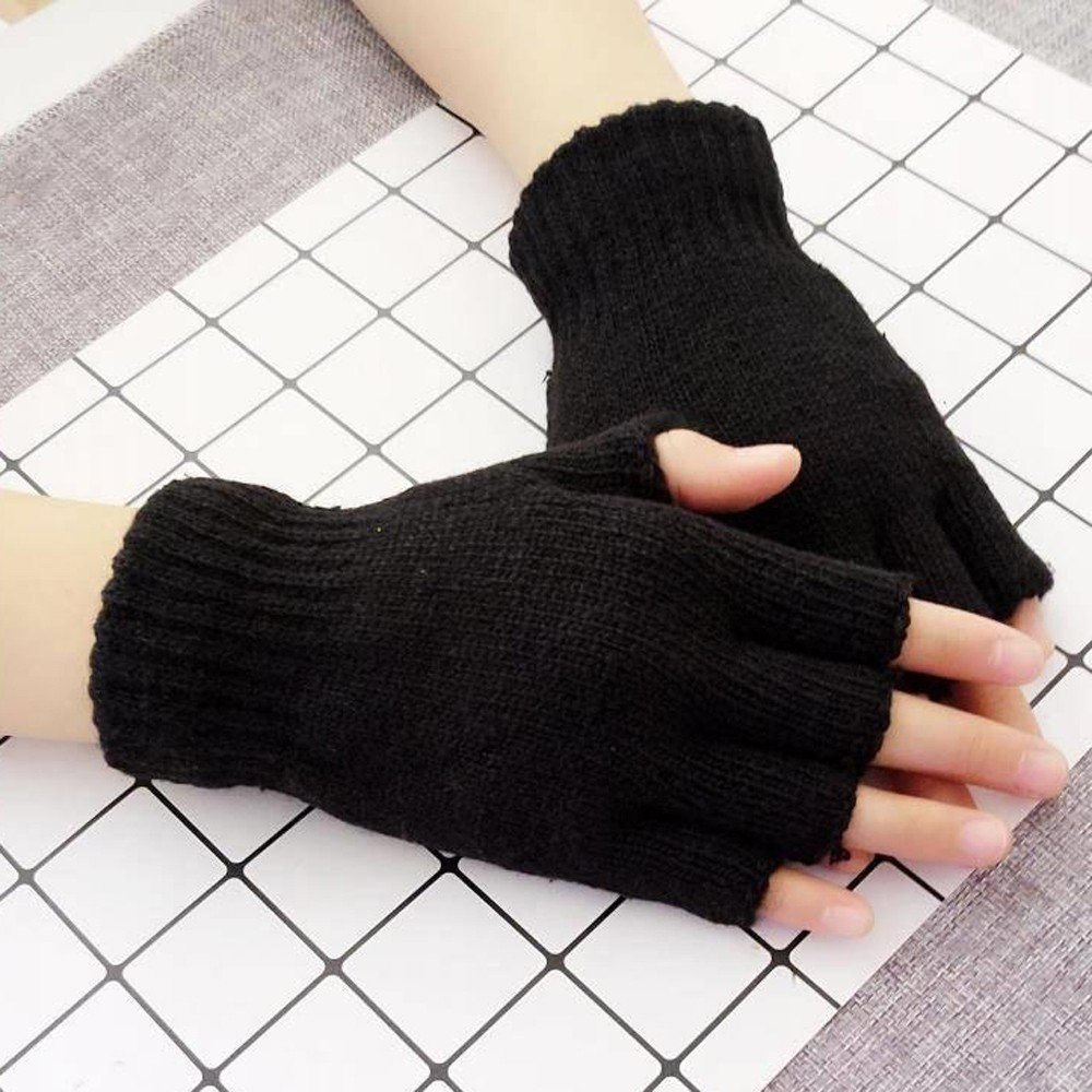 White Glove Fingerless Warm Winter Mitten Black Adult Crochet Unisex Luvas Femininas title=