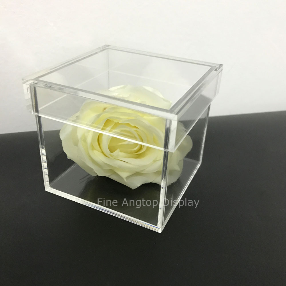 Acrylic Size 15x15x15cm Cube Boxes Gift Wedding Jewelry Storage Boxes Rose Flower Valentine's Day Present Surprise Gift