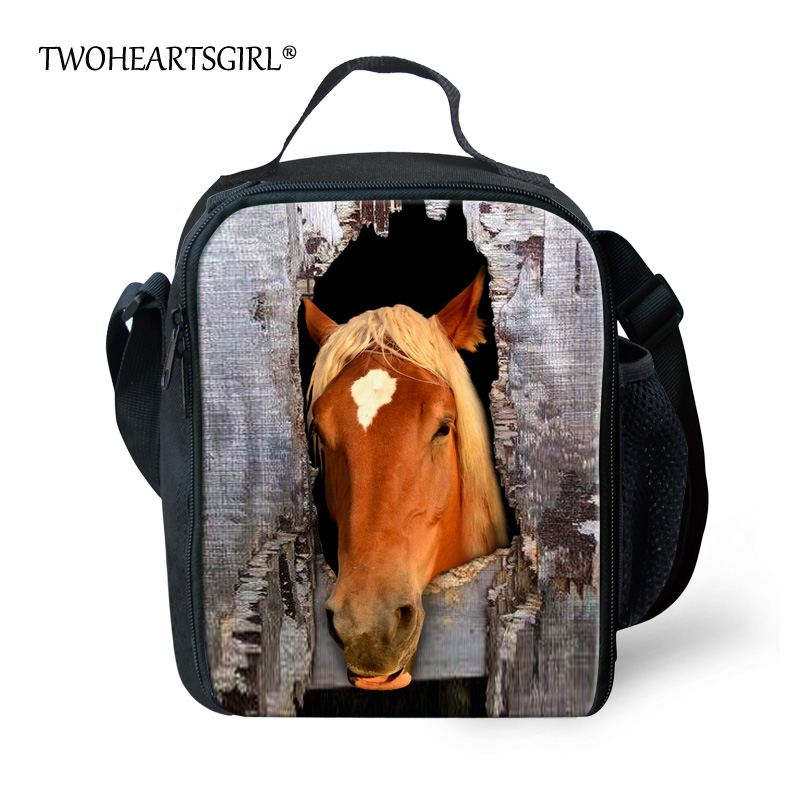 TWOHEARTSGIRL Cool Crazy Horse Lunch Bag for Men Designer Men Messenger Lunch Tote Bag Insulated Children Kids Animal Lunchbag