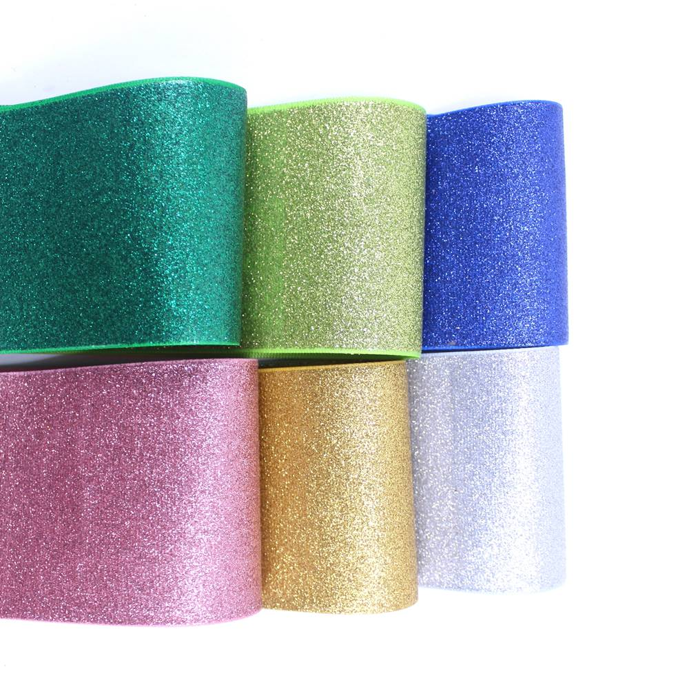 19 colors 10y/lot 375mm Colorful glitter Printed Grosgrain Ribbon sparkle solid Glitter ribbon Rainbow Decoration Webbings
