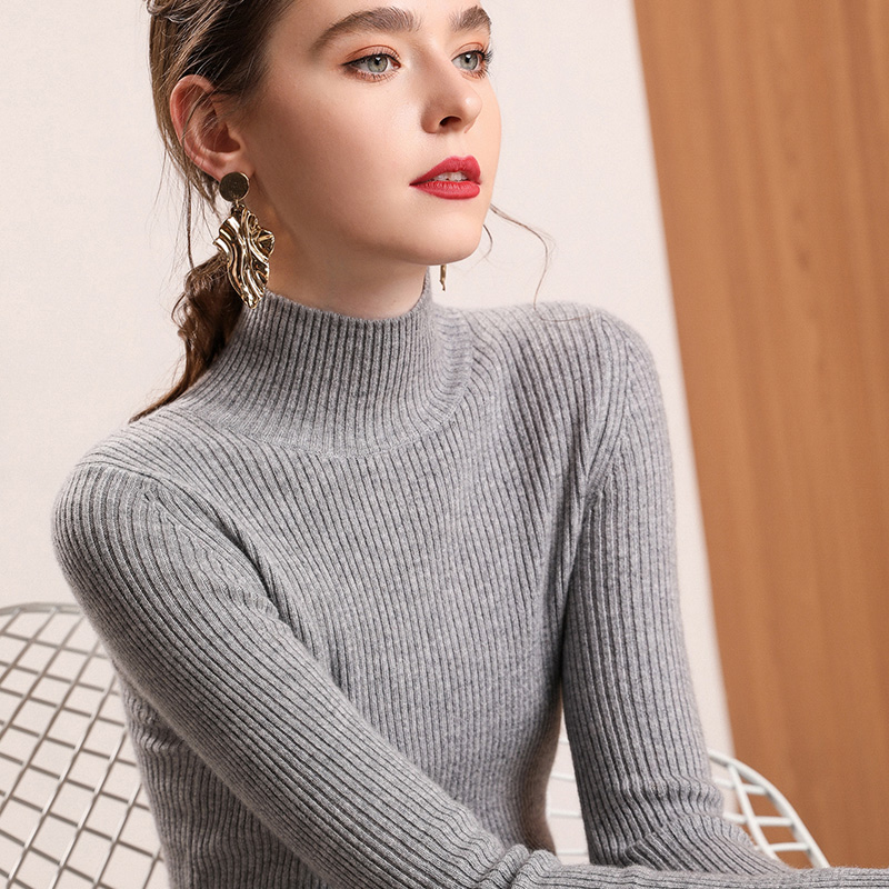 Women 100% Cashmere Pullover 2019 New Arrival Turtleneck Elasticity Sweater Female Warm Soft Basic Jumper Solid Slim Pull Femme-in Pullovers from Women's Clothing    1