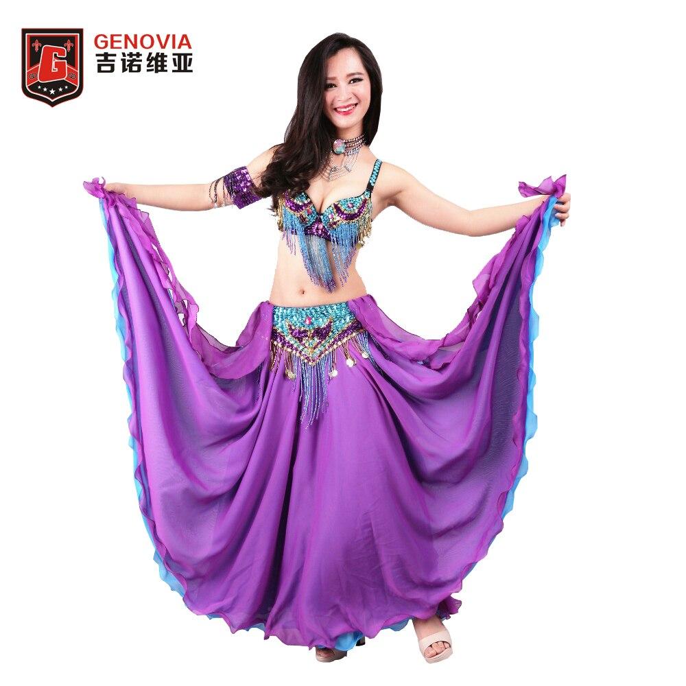 Size S XL Women Professional Beaded Belly Dance Costume 3 pcs Outfits Bra Belt Skirt Oriental