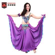 62ad36e79 Tamanho S-XL Mulheres Profissionais Frisado Traje de Dança Do Ventre 3 pcs  Bra   Belt   Saia Outfits Oriental Dança Do Ventre Fr..