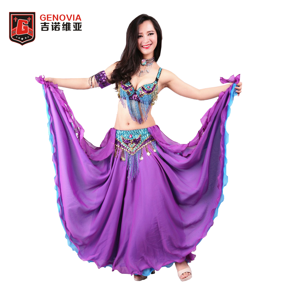 Formato S-XL Donne Professionale Perline Danza Del Ventre Costume 3 pz Outfit Bra & Belt & Skirt Oriental Danza Del Ventre In Rilievo vestiti