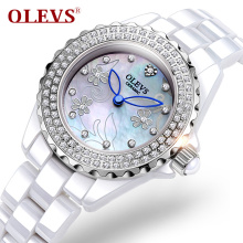 Fashion OLEVS Brand Luxury Crystal Ceramic Dial Women Watches Quartz 2017 silver rhinestone Exquisite gift Ladies Silver Clock