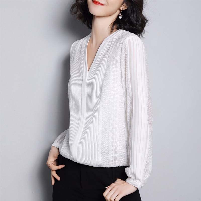 G495017 Vrouwen Blouse Kantoverhemd Vrouwelijke Lange mouwen Lente V hals Temperament Blouse Shirt Solid Causale Tops - 4