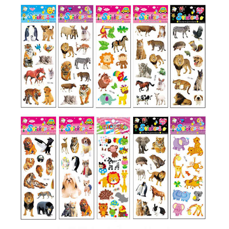 10 แผ่นที่แตกต่างกัน 3D สติกเกอร์การ์ตูนน่ารักของเล่น Pegatinas ตลกของเล่นเด็ก Scrapbook โทรศัพท์แล็ปท็อปของขวัญสัตว์ Tiger