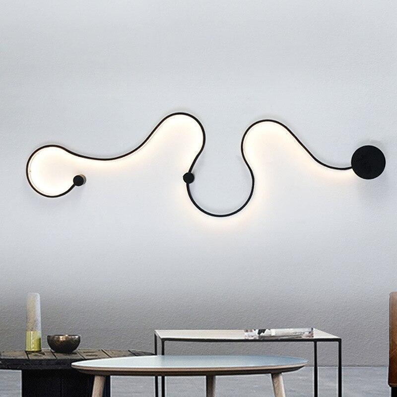 Moderne courbe LED mur lampe snakelike S forme luminaires lumières pour salon aisel couloir aluminium décor à la maison Murale Luminaire