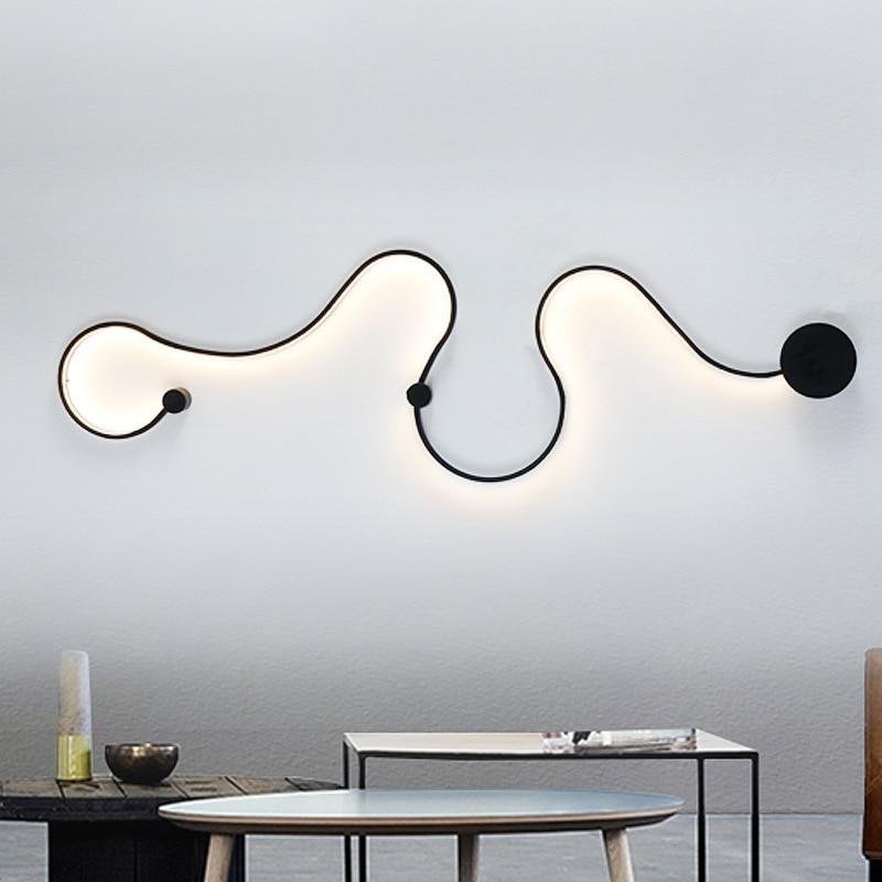 Moderne courbe mur LED lampe snakelike S forme luminaires pour salon allée couloir en aluminium décor à la maison Luminaire mural