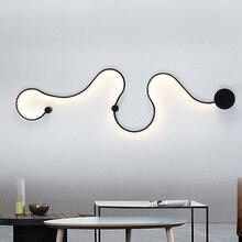 Современный кривой светодио дный настенный светильник змеиное S Форма светильники для гостиной Айсель коридор алюминиевый home decor Murale светильник