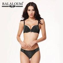BALALOUM Sexy Twinkle Push Up Bowknot Women Bra and Panty Sets Brassiere Underwear Female Lingerie Set Seamless T Back Thongs