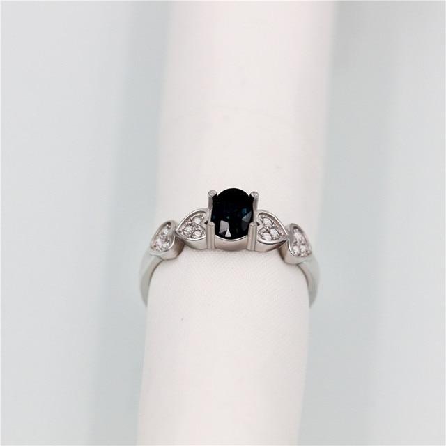 brixini.com - 0.7ct Natural Blue Sapphire Stone Retro Ring