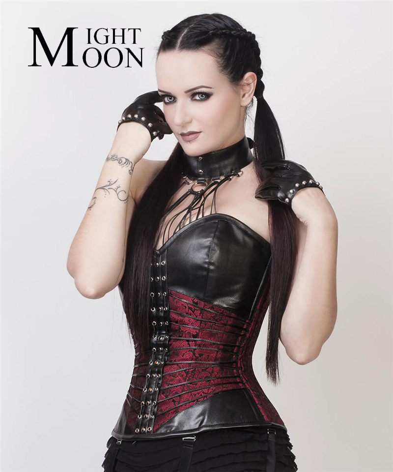 MOONIGHT Sexy Women PU Leather Burlesque Steampunk Gothic   Bustier     Corset   Halter   Corset     Bustier   Boned Bondage Fetish Costume
