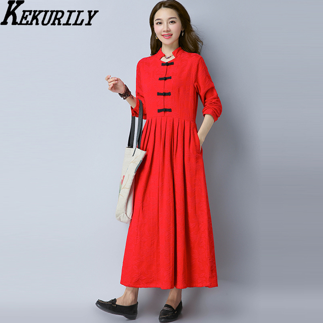 7b4d3adf4c KEKURILY women vintage elegant dress cotton linen long floral retro red  black Chinese tunic suit female maxi winter clothing