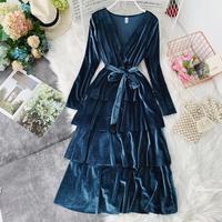 2018 Winter New female Pure Velvet deep V collar Long Sleeve ruffles layer ball gown dress women elegant waist tiered dresses