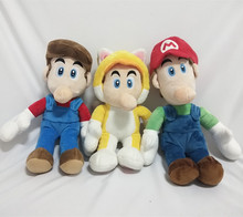3stye 30cm  Mario Bros Luigi Plush Toys Stand Brother Stuffed Soft Dolls For Children High Quality