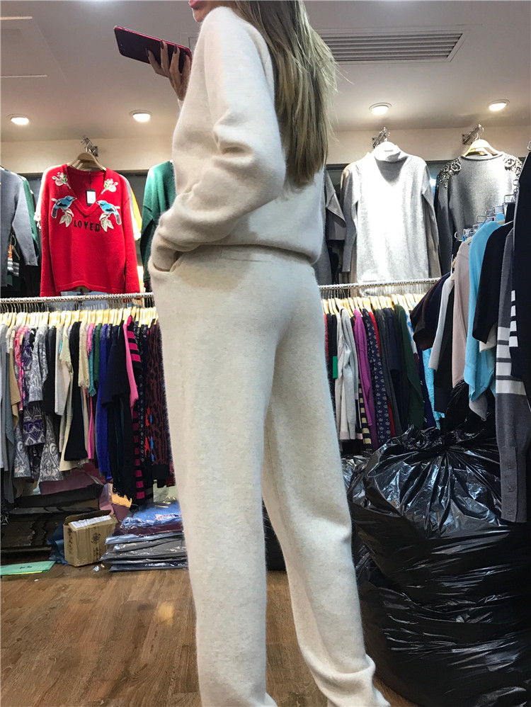 Pièces Costume En 2018 Cachemire Pull Manches Roulé Col Haute Laine Longues Hiver Moitié Qualité Femmes Survêtements Tricot Et Automne Deux Beige À qHx55En7Cw