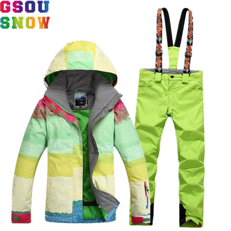 GSOU SNOW Brand Ski Suit Women Skiing Jacket Snowboarding Pants Waterproof Female Mountain Skiing Suit Winter Outdoor Sport Coat