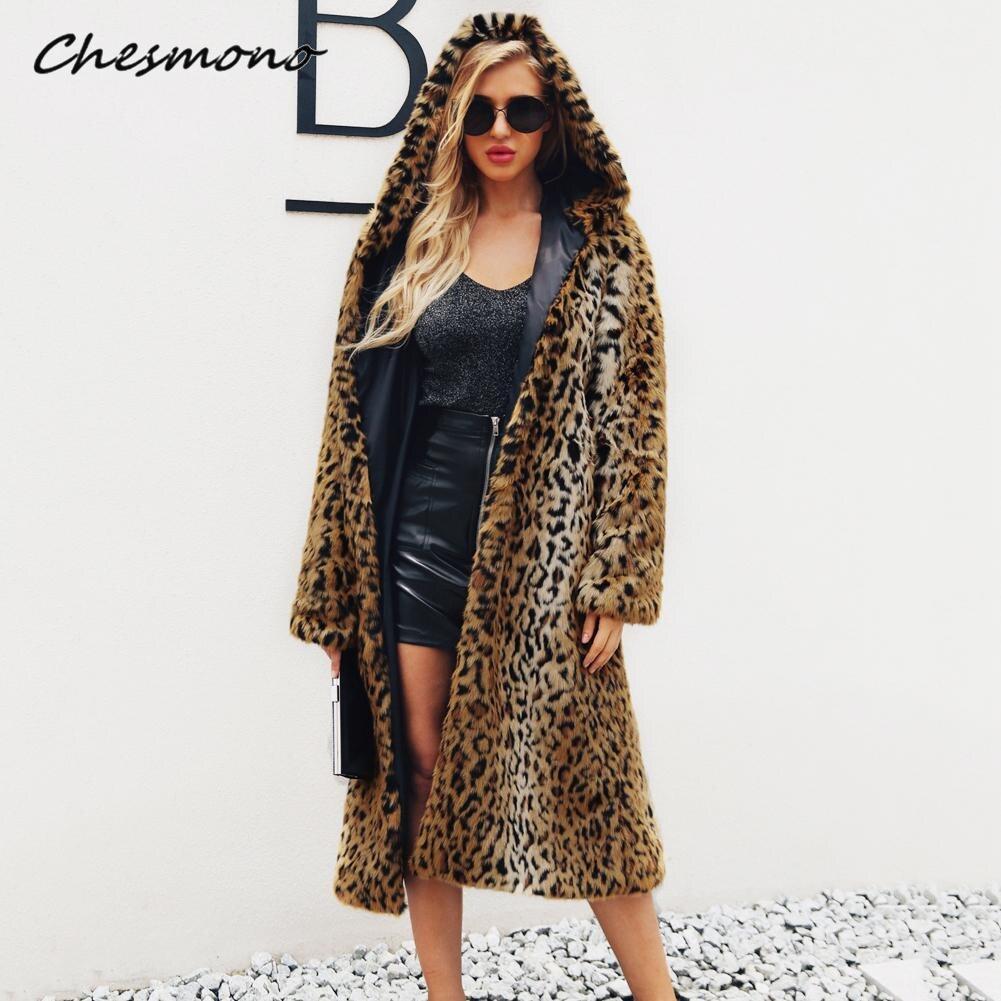 Wysokiej jakości luksusowe Faux Fur Coat kobiety zagęścić płaszcz zimowe ciepłe moda Leopard sztuczne futro damskie z kapturem długie płaszcze kurtka w Sztuczne futro od Odzież damska na AliExpress - 11.11_Double 11Singles' Day 1