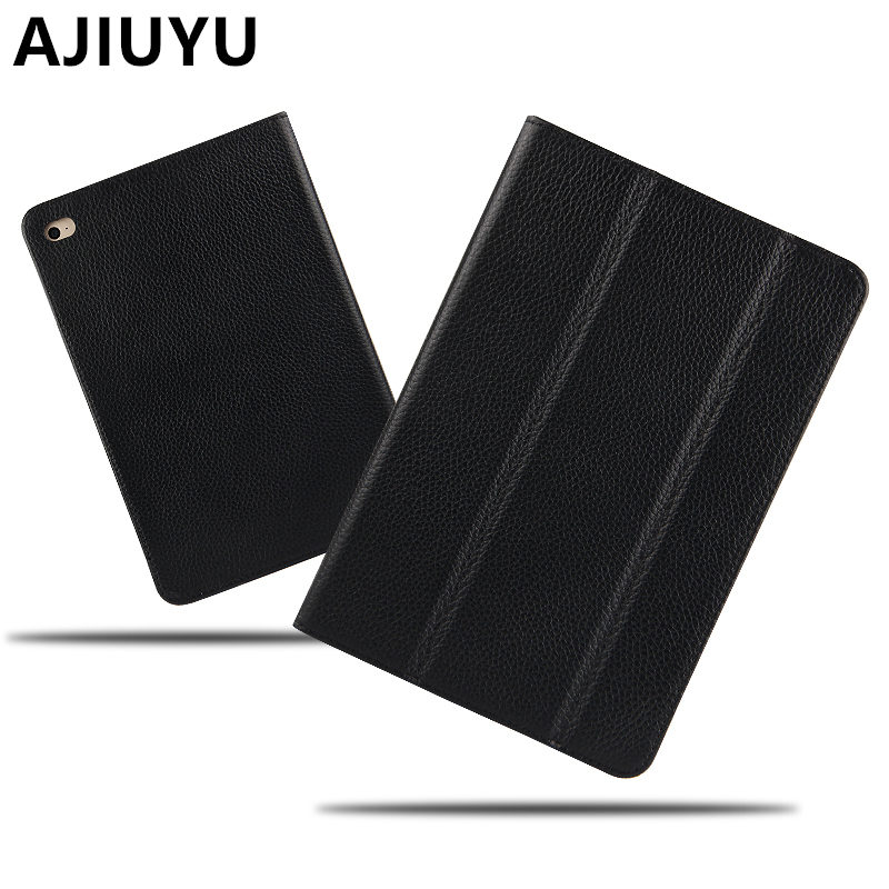 AJIUYU Genuine Leather For Apple iPad Air Case Cowhide Smart Cover Protective Protector For iPadAir Air1 Tablet 9.7inch Cases