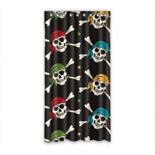 gedrukt blackout decoratieve milieuvriendelijke grappig schedel piraat sjaal gedrukt roze gordijn voor kids 50 inch