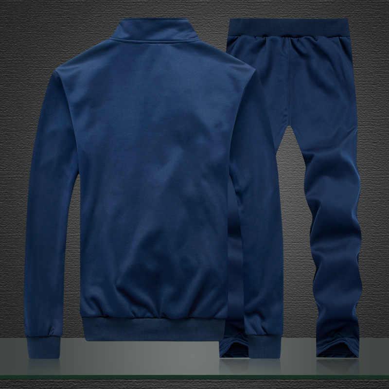 男性ポリエステルトレーナースポーツフリース 2019 ジム春ジャケット + パンツカジュアル男性のトラックスーツスポーツウェアフィットネス