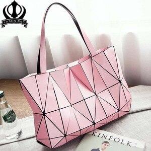 Image 1 - Moda pembe sac bayan çantası elmas Tote geometrik kapitone omuz çantaları kadın çanta kadınlar için 2020 bolsa feminina ana kesesi