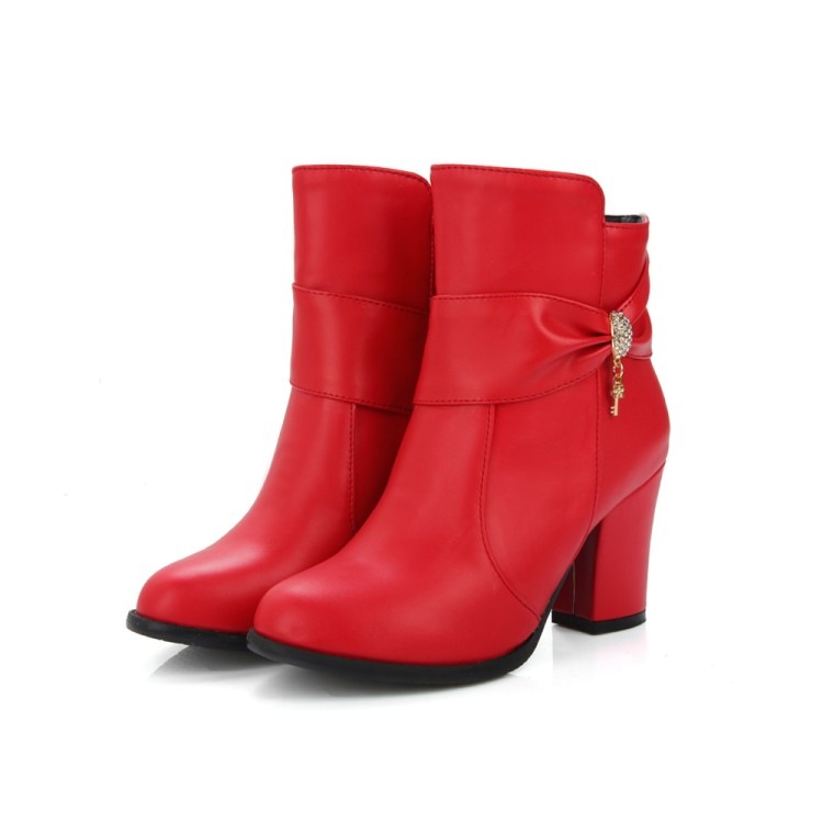 ФОТО 2017 Botas Mujer Winter Boots New Round Toe Buckle Boots For Women Sexy Ankle Heels Fashion Winter Shoes Casual Zip Snow 7-8