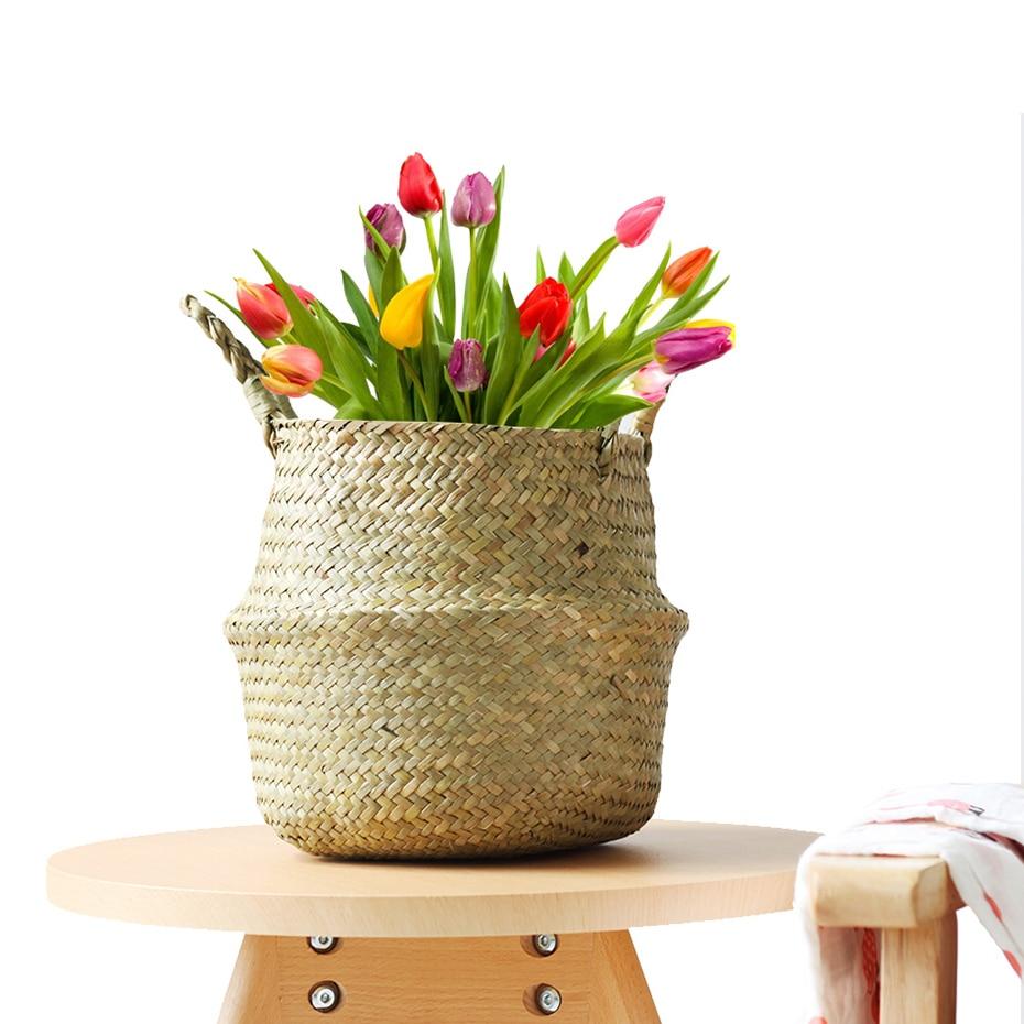 Storage Basket Rattan Straw Basket Wicker Seagrasss Folding Flower Pot Flower Vase Home Storage Basket Pot Planter Organization