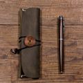 100%handmade  crazy horse cow leather large pencil case pen,can wholesale