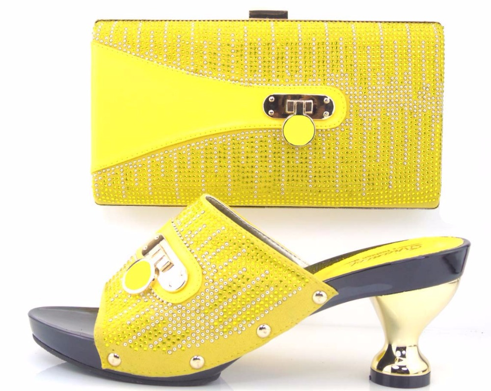 ФОТО Yellow TH16-29 New design and hot-selling Italy matching shoe and bag set with shinning stones.