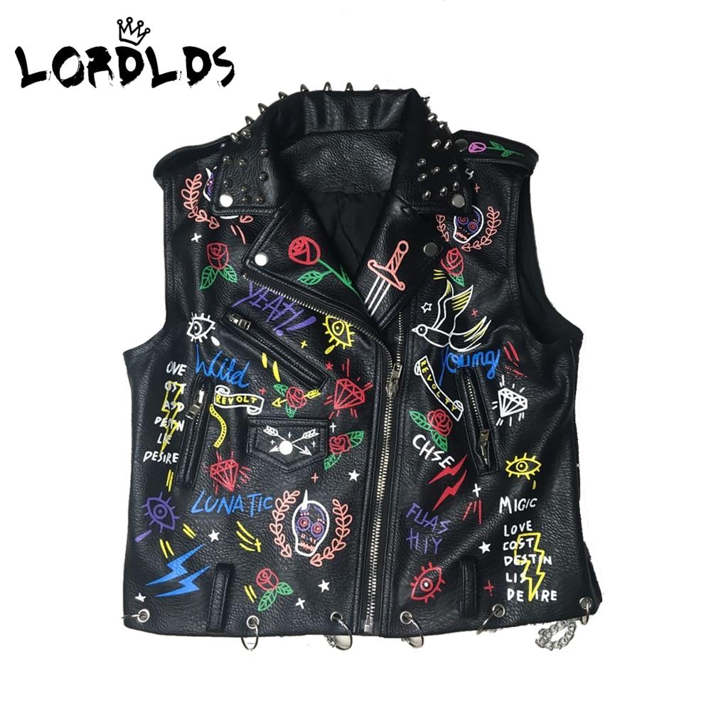 Lordld noir en cuir gilet femmes moto Streetwear Pu cuir veste sans manches femme Steampunk imprimé Biker gilet