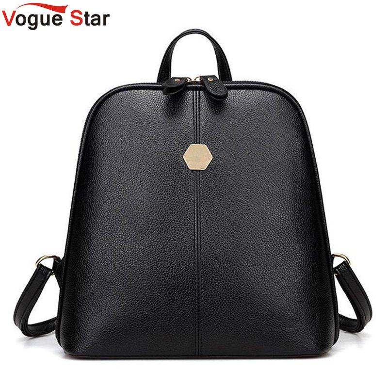 Vintage Shell Leather Women Backpack Solid Color Black Zipper School Bag For Teenager Small Back Pack Shoulder Bag LB211