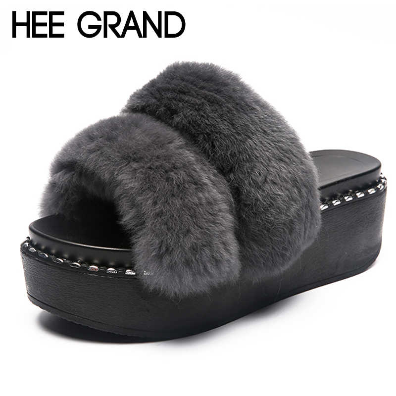 HEE GRAND Faux Fur Slippers Platform Beach Shoes Woman 2018 Creepers Autumn Winter Slides Casual Flats Slip On 4 Colors XWT1061 hee grand 2017 creepers summer platform gladiator sandals casual shoes woman slip on flats fashion silver women shoes xwz4074