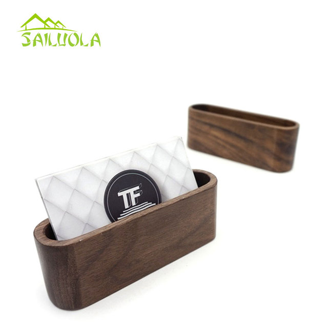 1pc Creative Black Walnut Wood Business Card Holder Name Organizer Desktop Office Display Stands