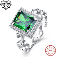 J.C Fine Jewelry Emerald & Tanzanite Topaz For Women Wedding Band Jewelry Solid Real 925 Sterling Silver Ring Size 6 7 8 9