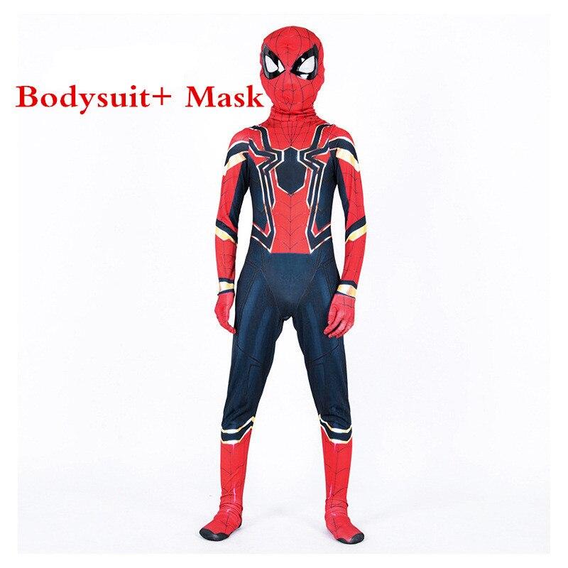 Movie Iron Spider Kids Spandex Catsuit Onesies Avengers Infinity War Cosplay Costumes Children Zentai Superhero Bodysuit Suit