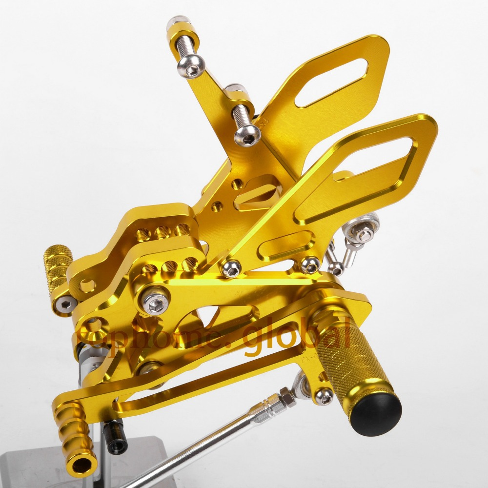 Motorcycle Parts Golden Color CNC Rearsets Foot Pegs Rear Set For KAWASAKI ZX10R 2004-2005Motorcycle Parts Golden Color CNC Rearsets Foot Pegs Rear Set For KAWASAKI ZX10R 2004-2005