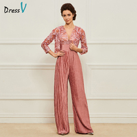 Dressv Long Mother Of The Bride Dress Suit Pants Three Quarter Sleeves Lace With Jacket Custom Party Mother Of The Bride Dress