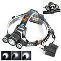 Boruit 6000LM 3*XML T6 LED Headlight Headlamp Fishing Head Lamp Bike Light luces frontales for Cycling +EU/US/AU/UK Plug Charger