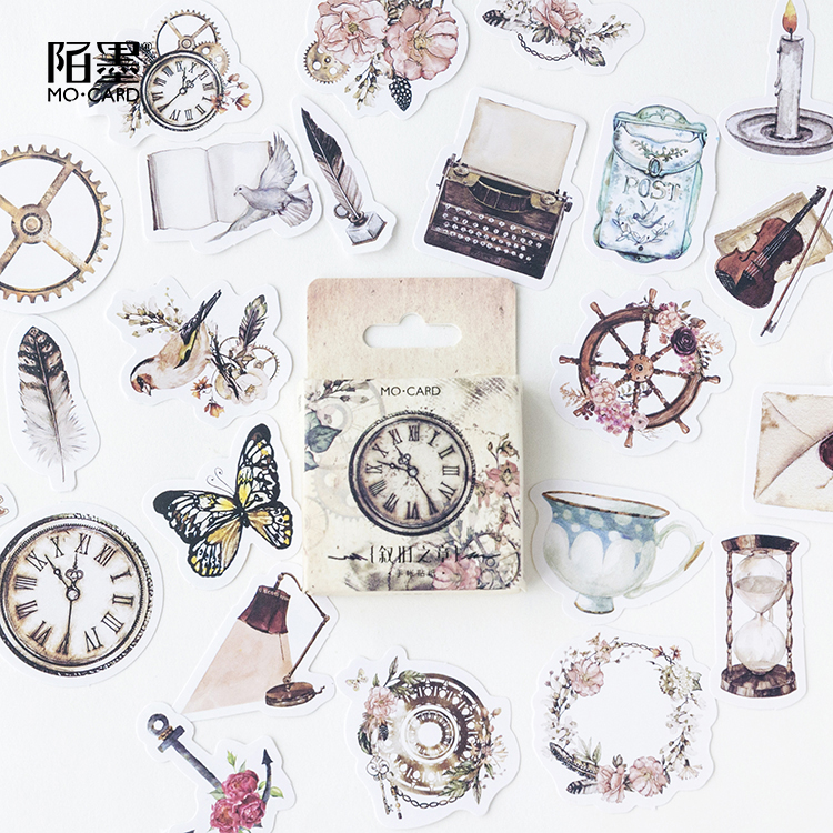 46 Pcs/box Feather Butterfly Mini Label Stickers Decorative Stationery Stickers Scrapbooking Diy Diary Album Stick Label
