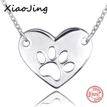 XiaoJing 100% 925 sterling silver diy design love heart shape dog footprint chain necklace fashion jewelry making women gifts