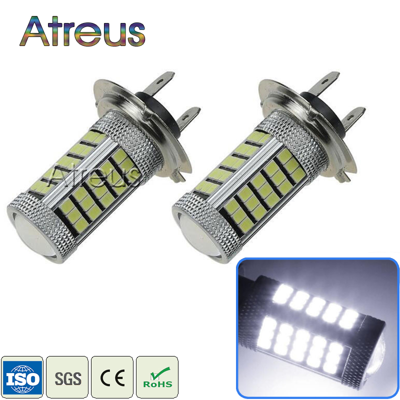 2Pcs Car H7 LED 63 SMD2835 LED 6000K Car Projector Driving Fog Lights Lamp Bulb White 12V DRL with Lens Automobiles Accessories brand new 2pcs h7 100w led 20 smd projector fog tail driving car headlight lamp drl bulb