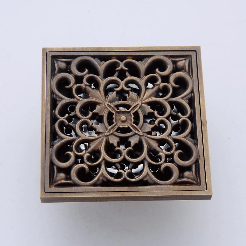 carved antique brass square shower drain floor waste drain cover strainer 10x10cm