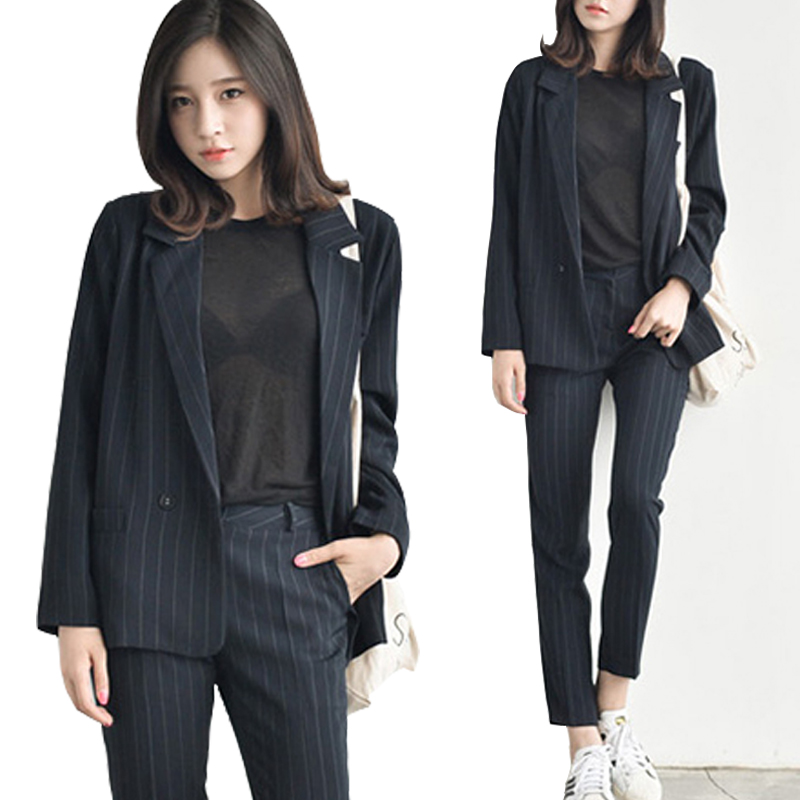Two-piece womens spring and autumn long-sleeved striped casual temperament OL career suits (jacket + trousers)