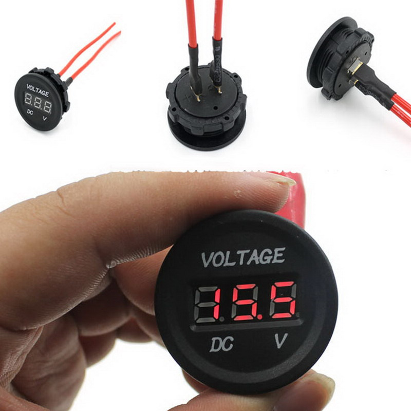 1 PC New 12V-24V Car Motorcycle LED Digital Display Waterproof Voltmeter Meter Hot Selling VEL33 P50