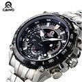 CAINO Homens Esportes Relógios Japão Movimento de Cronógrafo Data não À Prova D' Água 100 m Corrida Mens Watch Quartz Completa Steel Business Relógio de Pulso